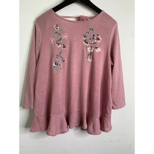 Lauren Conrad Pink Floral Embroidered Tie Neck Top